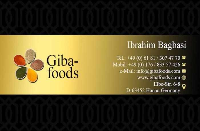 Gibafoods Visitenkarte Vorderseite