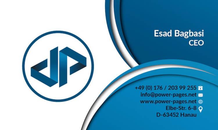 PowerPages Visitenkarte Vorderseite